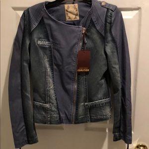 Jackets & Blazers - Jean Jacket. Faux leather on sleeves.